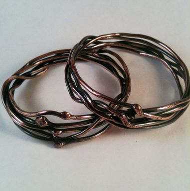 "Custom Made 12-Gauge Copper Bangle ""Five Tangled Branches''"