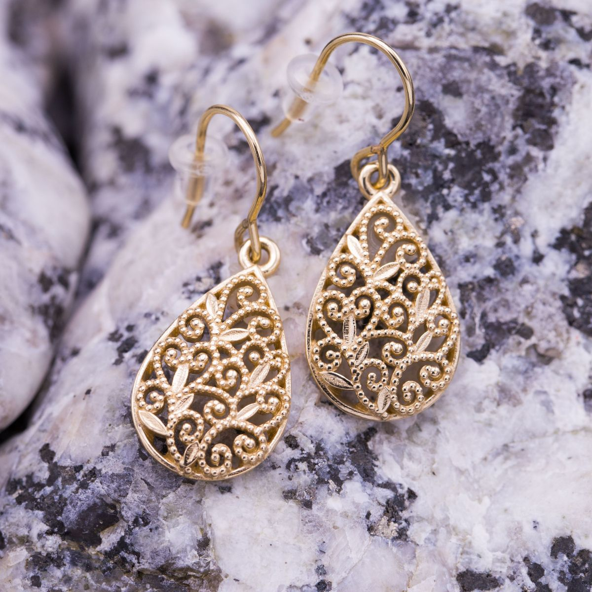599afe11a Delicate filigree earrings we created from photos of a lost heirloom.