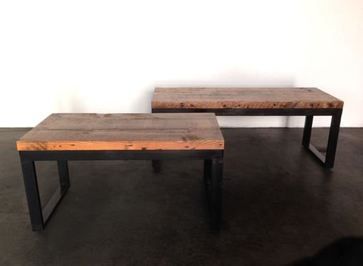 Custom Made Rustic Top And Black Patina'd Benches