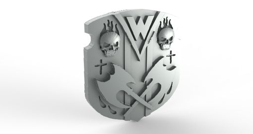 Custom Made Skull, Flames, And Axe Shield Family Crest Ring