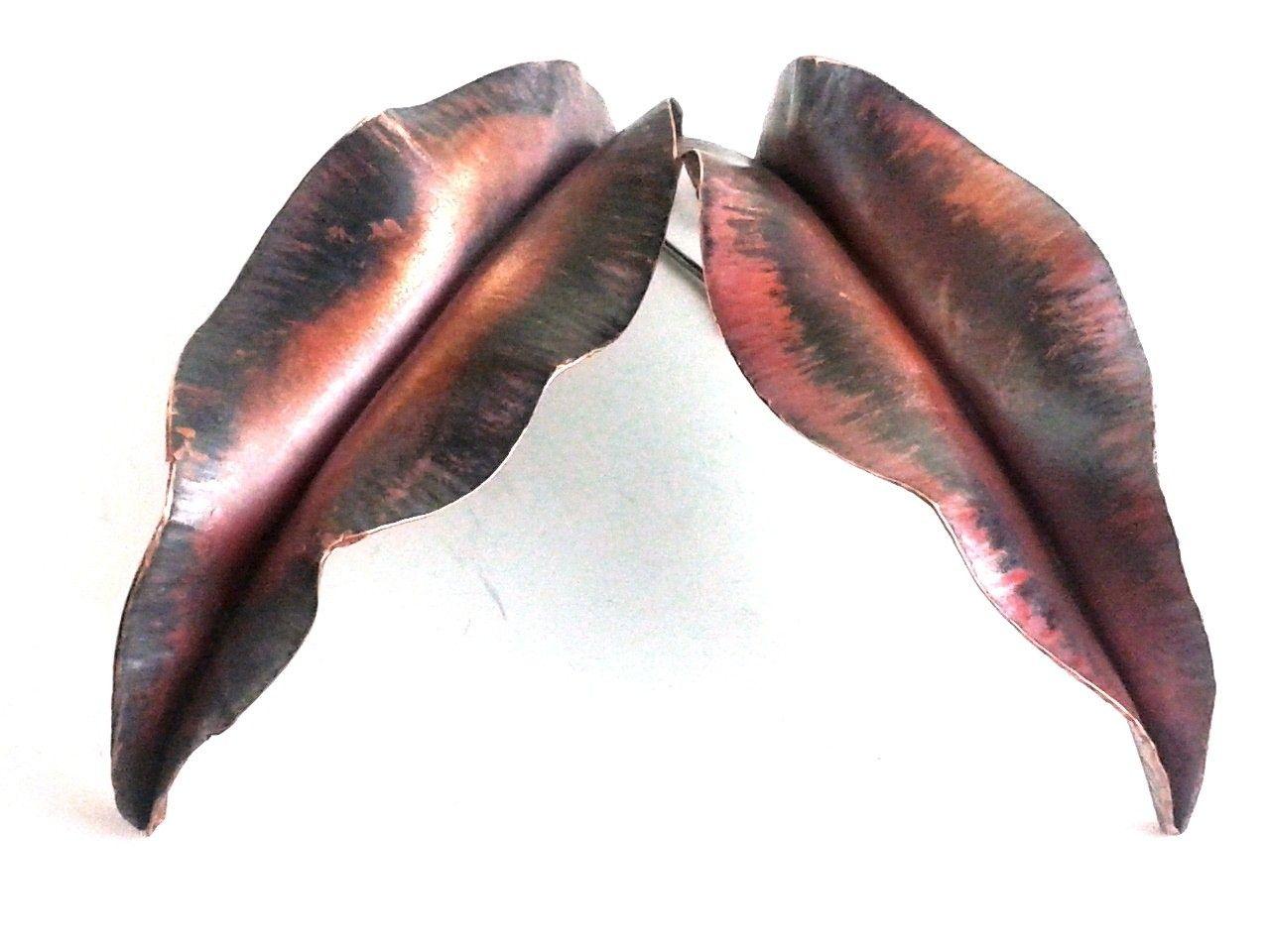 Custom Made Copper Earrings Fold Formedanic Ruffled Leaves