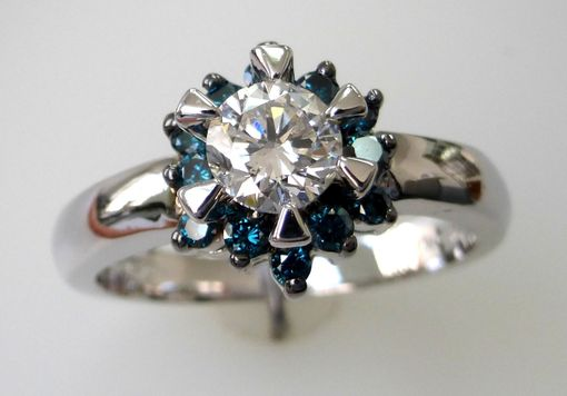 Custom Made Diamond Engagement Ring With Blue Diamond Accent- 14k White Gold