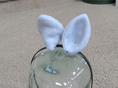 "Custom Made Cat Ears 3.5"" With Metal Snap Hair Clips To Attach To Hair"