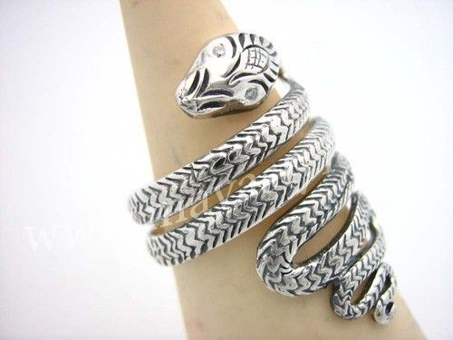 Custom Made Sterling Silver Snake Ring With Diamond Eyes Animal