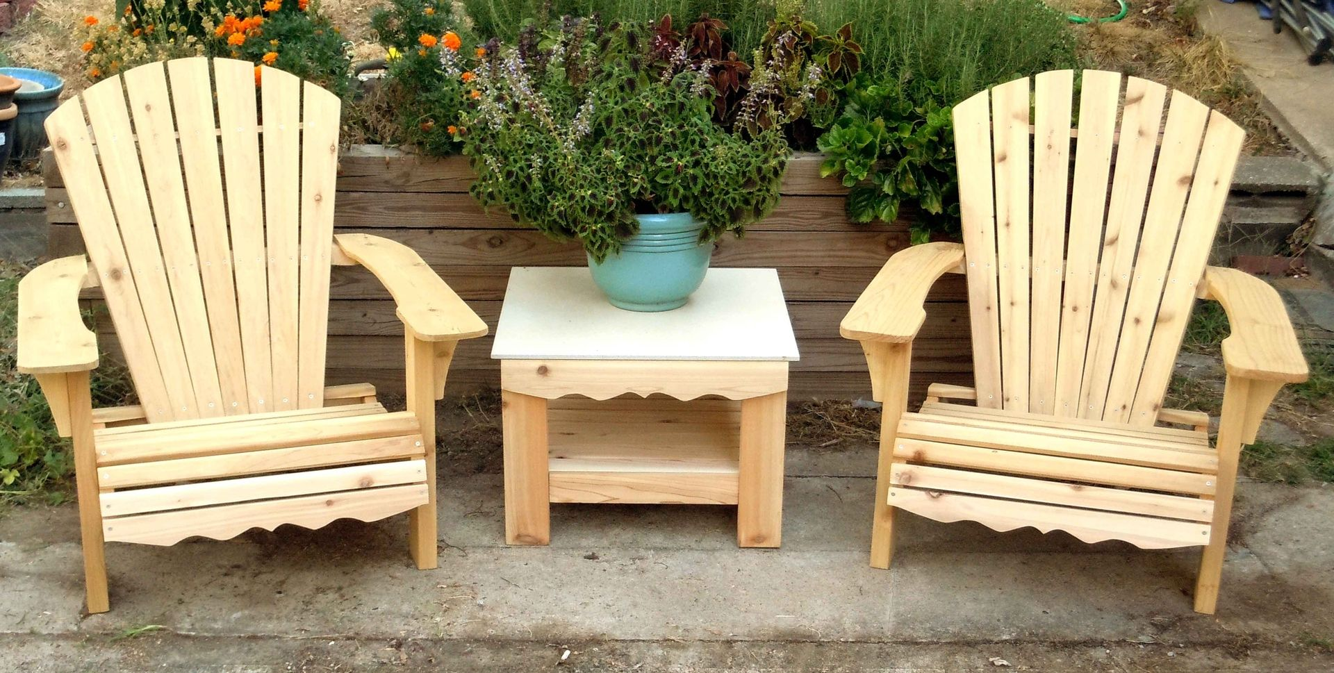 Custom Made Adirondack Chair Set With Porcelain Top Table