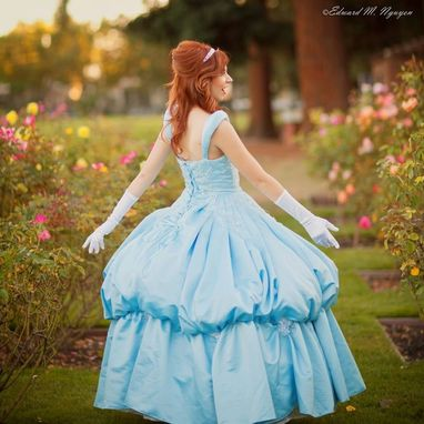 Custom Made Couture Cinderella Light Blue Satin Ball Gown Dress Masquerade Sweet 16 Adult Anastasia