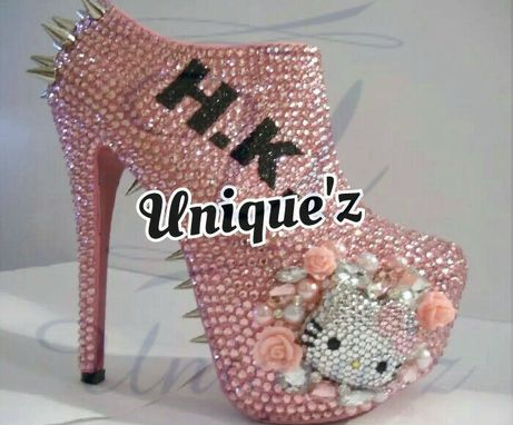 Custom Made Hello Kitty Spiked/Rhinestone Ankle Booties (3d Bad Kitty)