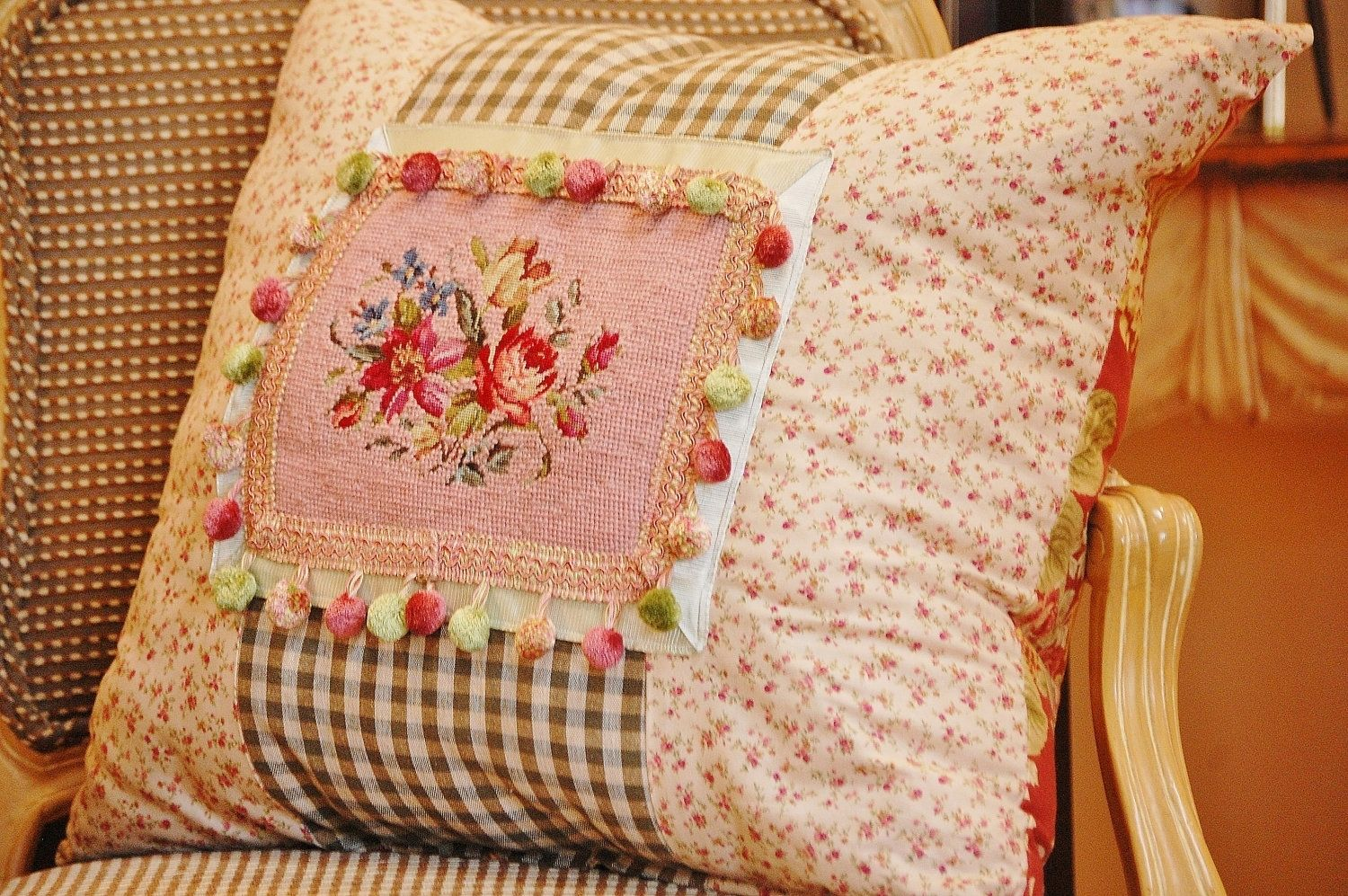 Hand made cottage chic rose and sage vintage embroidery