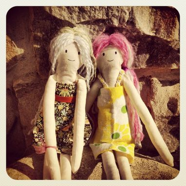 Custom Made Rag Doll With Vintage Fabric Dress