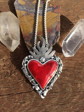 Custom Made Red Enamel Sacred Heart Necklace, Flaming Heart Necklace