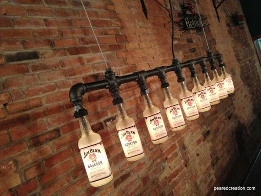 Custom Made Industrial Style Chandelier -  Bottle Light