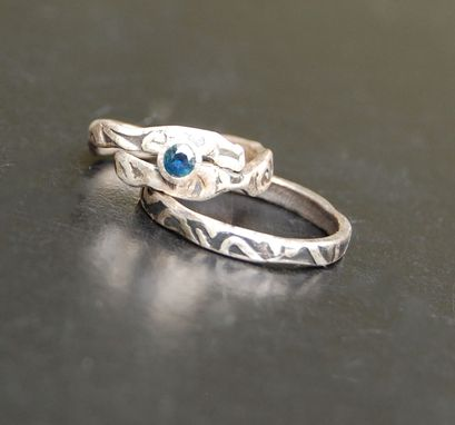 Custom Made Textured Sapphire Wedding Ring