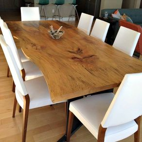 raw wood dining table modern bookmatched live edge sycamore dining table wood furniture custommadecom