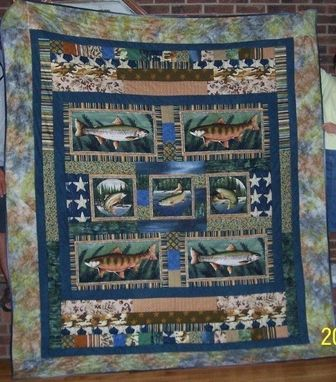"Custom Made Custom ""Gone Fishing"" Themed Quilt"