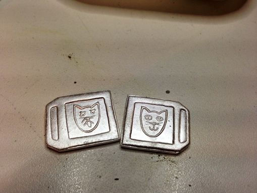 Custom Made Schrodinger's Cat Cuff Links In Fine And Sterling Silver