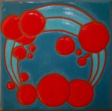 Custom Made Art Deco Red Bubbles Accent Tile