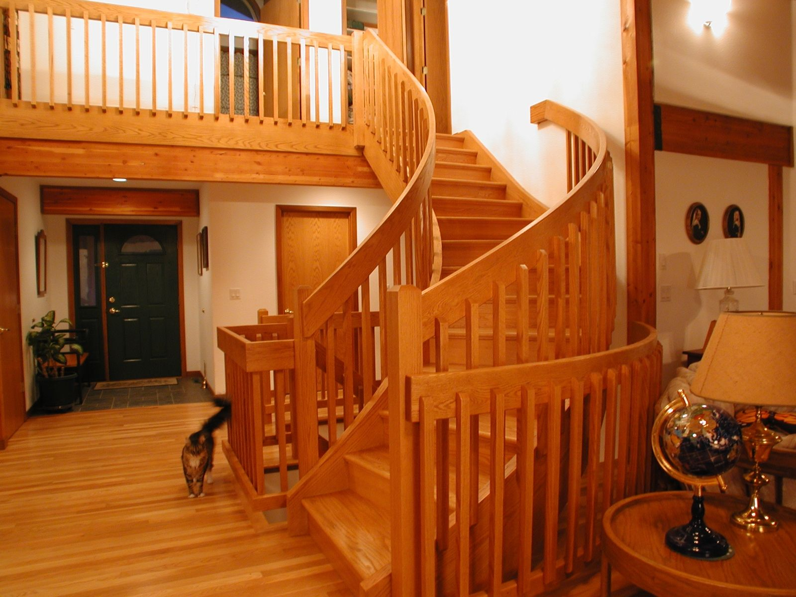 Custom Made Curved Craftsman Style Red Oak Staircase
