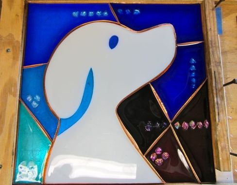 Custom Made Fused Glass Panel With Dichroic Glass Accents: Company Logo