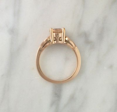 Custom Made Morganite & Diamond Leaf Ring In 14k Rose Gold