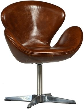 Custom Made Tarzana Mid Century Leather Chair