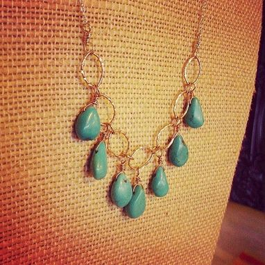 Custom Made Sterling Silver And Turquoise Drop Necklace