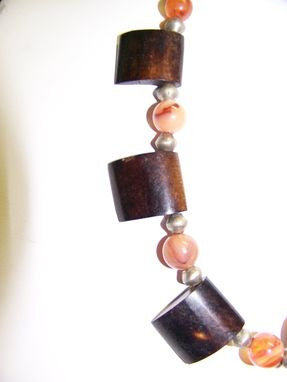 Custom Made Dramatic African Amber With Mahogany Wood Slices And Carnelian Beads