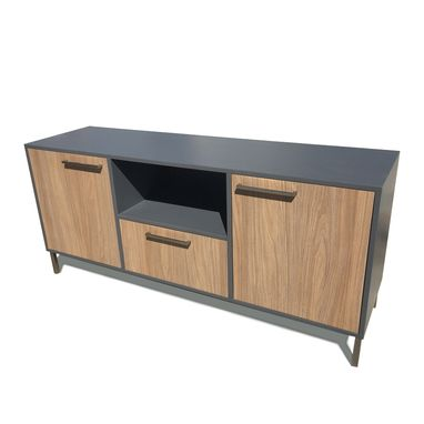 Custom Made Orissa Storage Credenza In Gray & Walnut