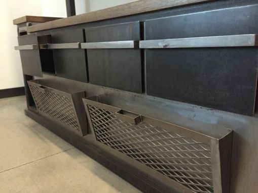 Custom Made Modern Industrial Office Credenza And Shelving Unit