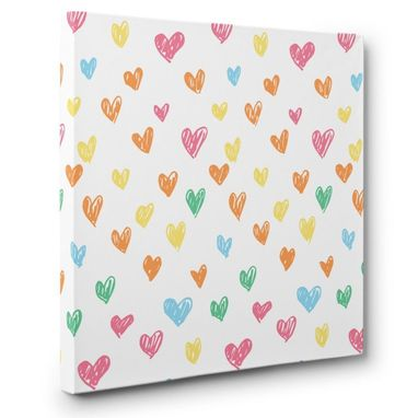 Custom Made Colorful Doodle Hearts Canvas Wall Art
