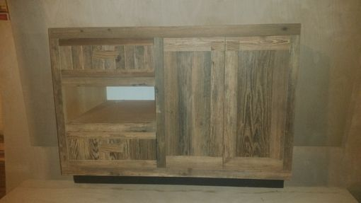 Custom Made Rustic Finish Bathroom Vanity With Matching Midrror