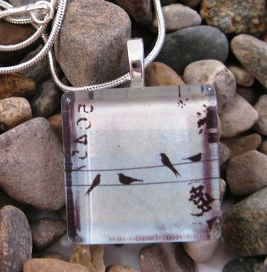 Custom Made Glass Tile Pendant With Birds On A Wire On Silver Snake Chain Necklace