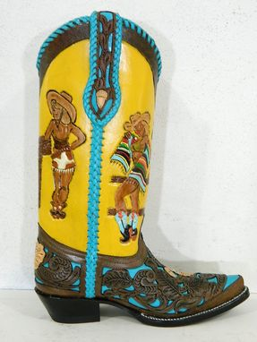 Custom Made Hand Tooled Cowgirl Boots Made To Order To Your Size