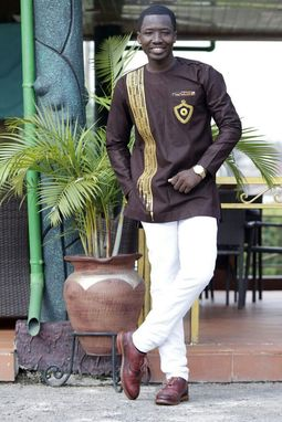 Custom Made Brown & Golden Strips Embroidered Long Sleeve Shirt;Men's African Clothing