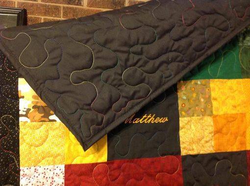 Custom Made Custom Embroidered / Personalized Birthstone Patchwork Quilt