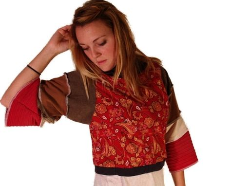 Custom Made Red Paisley Eco Cropped Pullover - Size S/M