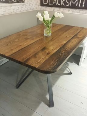 Custom Made Reclaimed Wood And Steel Pedestal Table