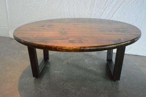 Custom Made Round Coffee Table With Raw Steel Base
