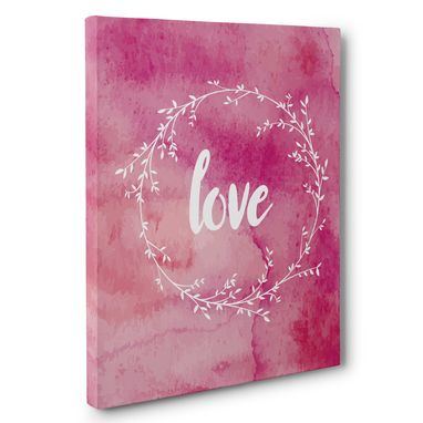Custom Made Love Watercolor Wreath Wedding Anniversary Canvas Wall Art