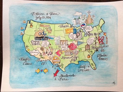 Custom Made Whimsical Love Story Maps