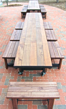 Custom Made 14' Outdoor Tables And Benches