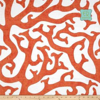 Custom Made 72l X 50w P Kaufmann Coral Reef Orange Linen Custom Curtain Panels