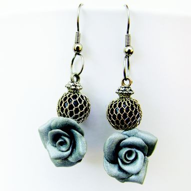 Custom Made Garden Jewel Earrings - Handcrafted Polymer Clay Roses