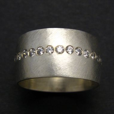 Custom Made Boyfriend Ring By Cristina Hurley Sterling Silver Wide Band Set With Czs
