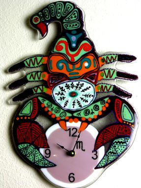 Custom Made Original Fused Glass Wall Clock Scorpio