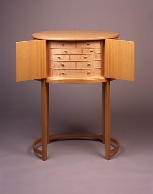 Custom Made Chestnut & Spruce Oval Jewelry Cabinet