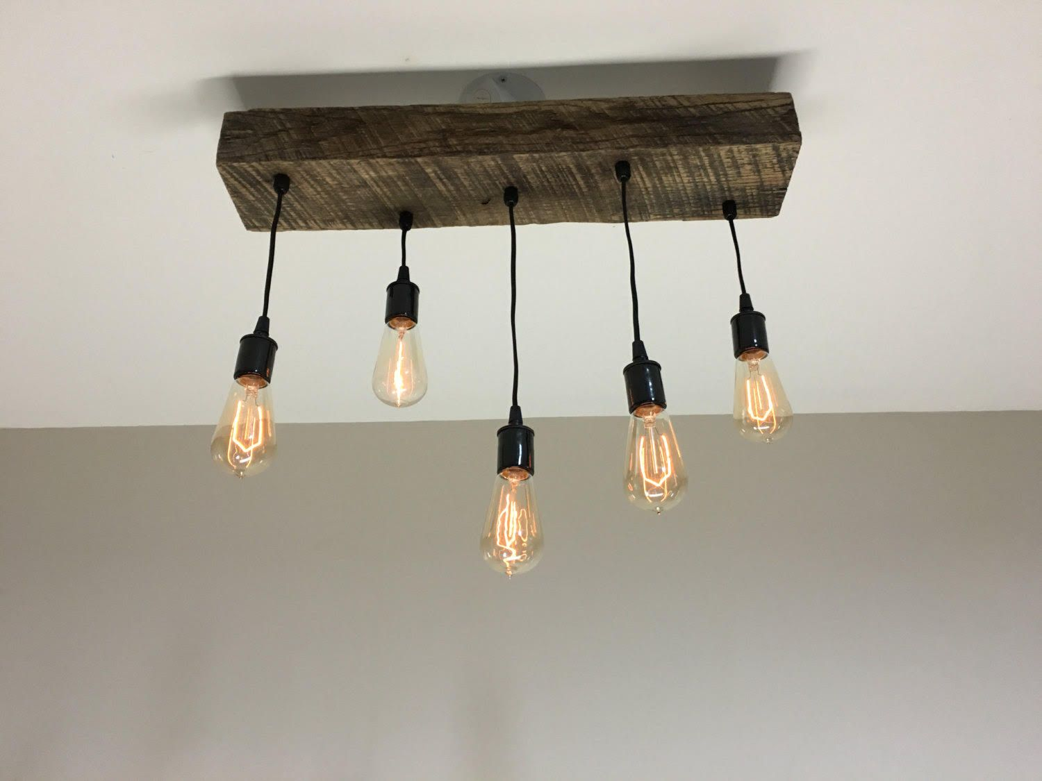 Buy Hand Crafted Reclaimed Barn Timber Beam Light Fixture With Hanging Edison Bulbs Made To Order From 7m Woodworking Custommade Com