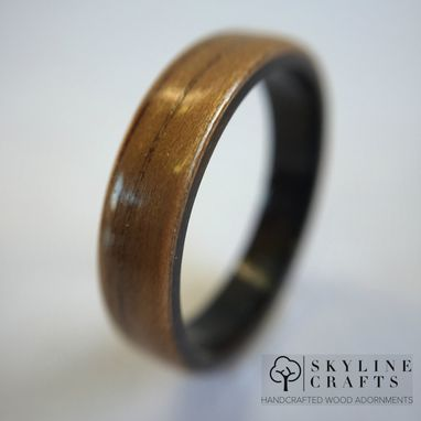 Custom Made Koa Bentwood Ring With Ebony Liner. Handmade Wood Ring. Handcrafted Koa Wood Ring.
