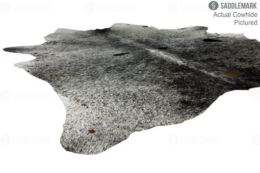 "Custom Made Brazilian Salt And Pepper Black Premium Cowhide Rug #1325 | 7'-4"" X 6'-11"""