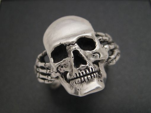 Custom Made Sterling Skull And Bones Biker Ring