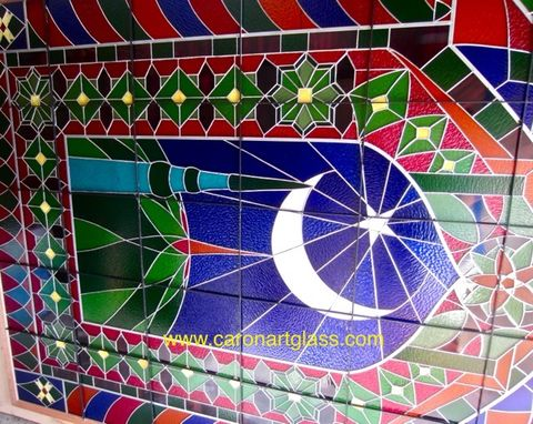 Custom Made Stained Glass Window- Star And Crescent